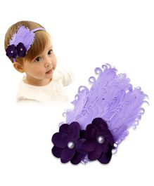 Bembika Headband With Floral Appliques Photo Shoot Prop - Purple