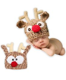Bembika Crochet Reindeer Cap Photography Prop - Brown