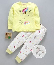 Lazy Bones Full Sleeves Night Suit Unicorn Print - Yellow