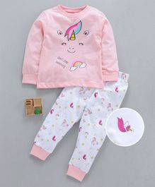 Lazy Bones Full Sleeves Night Suit Unicorn Print - Pink