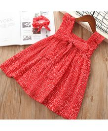 Pre Order - Awabox Polka Dot Printed Sleeveless Dress - Red