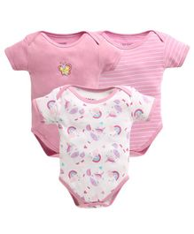 Bumzee Half Sleeves Unicorn & Striped Pack Of 3 Onesies - Pink