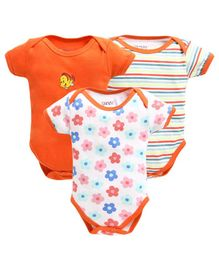 Bumzee Short Sleeves Flower Print & Striped Pack Of Three Onesie - Orange