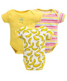 Bumzee Half Sleeves Striped & Banana Print Pack Of Three Onesie - Yellow