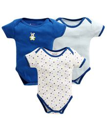 Bumzee Half Sleeves Striped & Star Print Pack Of Three Onesie - Blue