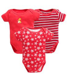 Bumzee Half Sleeves Pack Of Three Striped & Star Print Onesie - Red