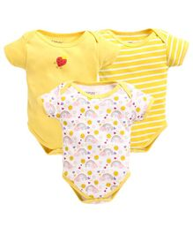 Bumzee Half Sleeves Pack Of Three Striped & Rainbow Print Onesie - Yellow