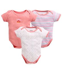 Bumzee Half Sleeves Pack Of Three Striped & Polka Dot Print Onesie - Peach