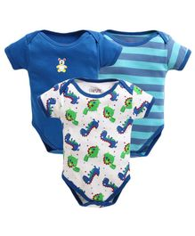 Bumzee Half Sleeves Striped & Dinosaur Print Pack Of Three Onesie - Blue