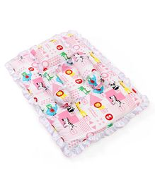 Fisher Price Mattress With Bolster & Pillow Animals Print - Pink