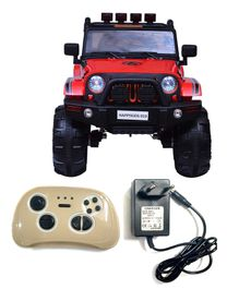 HappyKids Battery Operated Ride On Jeep With Remote Control - Red Black