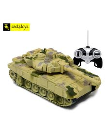 Zest 4 Toyz Remote Control Army Battle Tank With Light & Sound - (Colors may Vary)