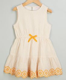 Budding Bees Striped & Embroidered Hem Sleeveless Dress - Off White