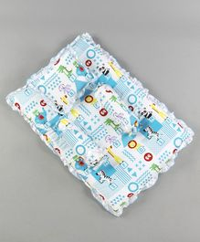 Fisher Price Mattress With Bolster & Pillow Animals Print - Blue