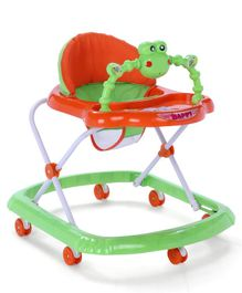 Baby Walker With High Backrest & Seven Wheels - Green