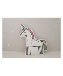 StyBuzz Cotton Canvas Unicorn Shaped Cushion - White