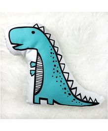 StyBuzz Cotton Canvas Dino Shaped Cushion - Blue White