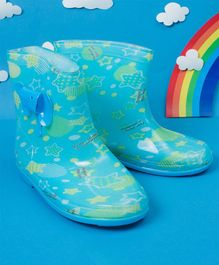 Little Maira Elephant Print Rain Boots - Blue