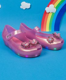 Little Maira Flower Decorated LED Rain Shoes - Pink