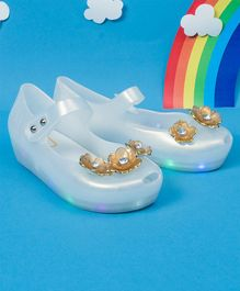 Little Maira Flower Decorated LED Rain Shoes - White