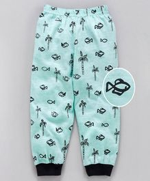 Mini Taurus Ankle Length Lounge Pant Allover Fish Print - Mint Green