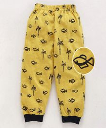 Mini Taurus Ankle Length Lounge Pant Allover Fish Print - Mustard Yellow