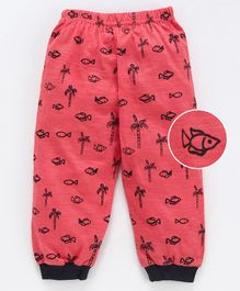 Mini Taurus Ankle Length Lounge Pant Allover Fish Print - Cherry Red
