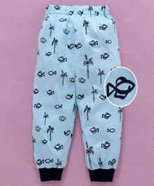 Mini Taurus Ankle Length Lounge Pant Allover Fish Print - Sky Blue
