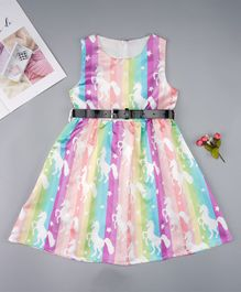 Pre Order - Awabox Unicorn & Striped Printed Sleeveless Dress With Buckle Belt - Purple