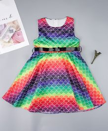Pre Order - Awabox Fish Scale Printed Sleeveless Dress With Buckle Belt - Multi Colour