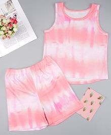 Pre Order - Awabox Tie Dye Sleeveless Top With Shorts - Pink