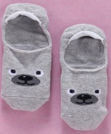 Mustang Anti Skid Footlets Socks Mouse Design - Grey