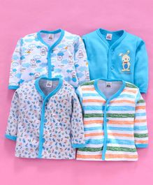 Mini Donuts Full Sleeves Vests Multi Print Pack of 4 - Blue White