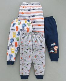 Mini Donuts Full Length Vehicle Print Lounge Pants Set of 4 - Navy Blue