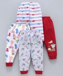 Mini Donuts Full Length Vehicle Print Lounge Pants Set of 4 - Red