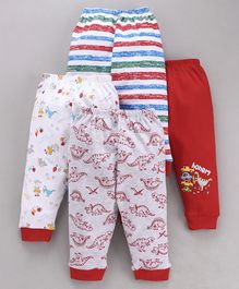 Mini Donuts Full Length Multi Printed Lounge Pants Set of 4 - Red