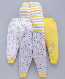 Mini Donuts Full Length Multi Print Lounge Pants Set of 4 - Yellow