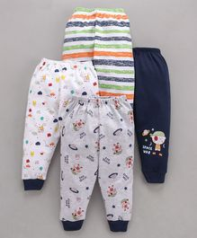 Mini Donuts Full Length Multi Printed Lounge Pants Set of 4 - Navy Blue