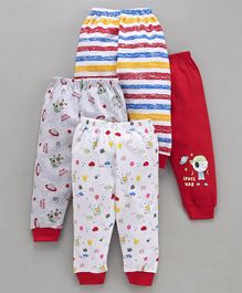 Mini Donuts Full Length Multi Print Lounge Pants Set of 4 - Red