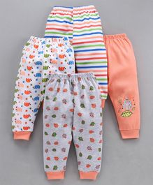 Mini Donuts Full Length Multi Print Lounge Pants Set of 4 - Orange