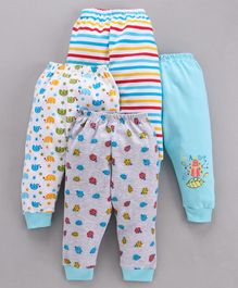 Mini Donuts Full Length Multi Printed Lounge Pants Set of 4 - Light Blue