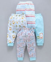 Mini Donuts Full Length Multi Print Lounge Pants Set of 4 - Blue