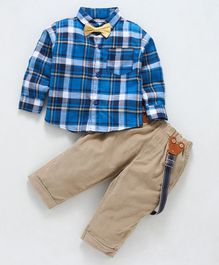 marshmallows Full Sleeves Checkered Shirt & Pant With Suspender & Bow - Blue