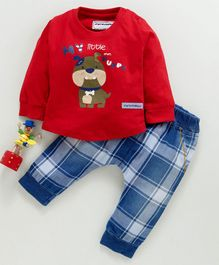 marshmallows Full Sleeves Tee & Trousers Set - Red Blue
