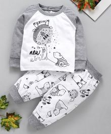 marshmallows Full Sleeves T-Shirt & Trousers Set Bear Print - Grey