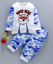 marshmallows Full Sleeves T-Shirt & Lounge Pant Set Super-Hero Print - Blue