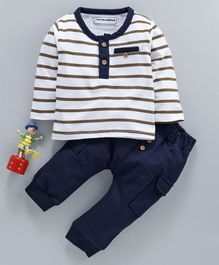 marshmallows Full Sleeves Striped T-Shirt & Pant Set - Navy Blue