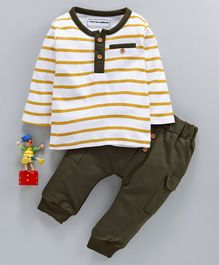 marshmallows Full Sleeves Striped T-Shirt & Pant Set - Olive