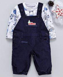 marshmallows Corduroy Solid Dungaree With Printed Tee - Navy Blue