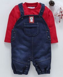marshmallows Dungaree With Solid Tee - Red & Dark Blue